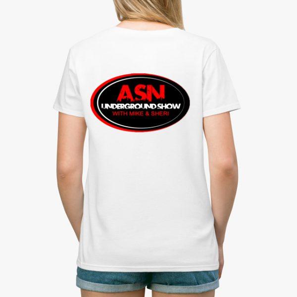 ASN Lifestyle Magazine underground show white unisex tshirt lady back example