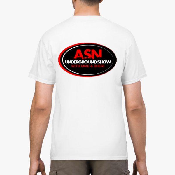 ASN Lifestyle Magazine underground show white unisex tshirt man back example