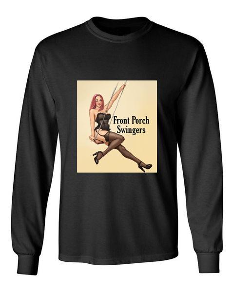 front porch swingers black front long sleeve t-shirt