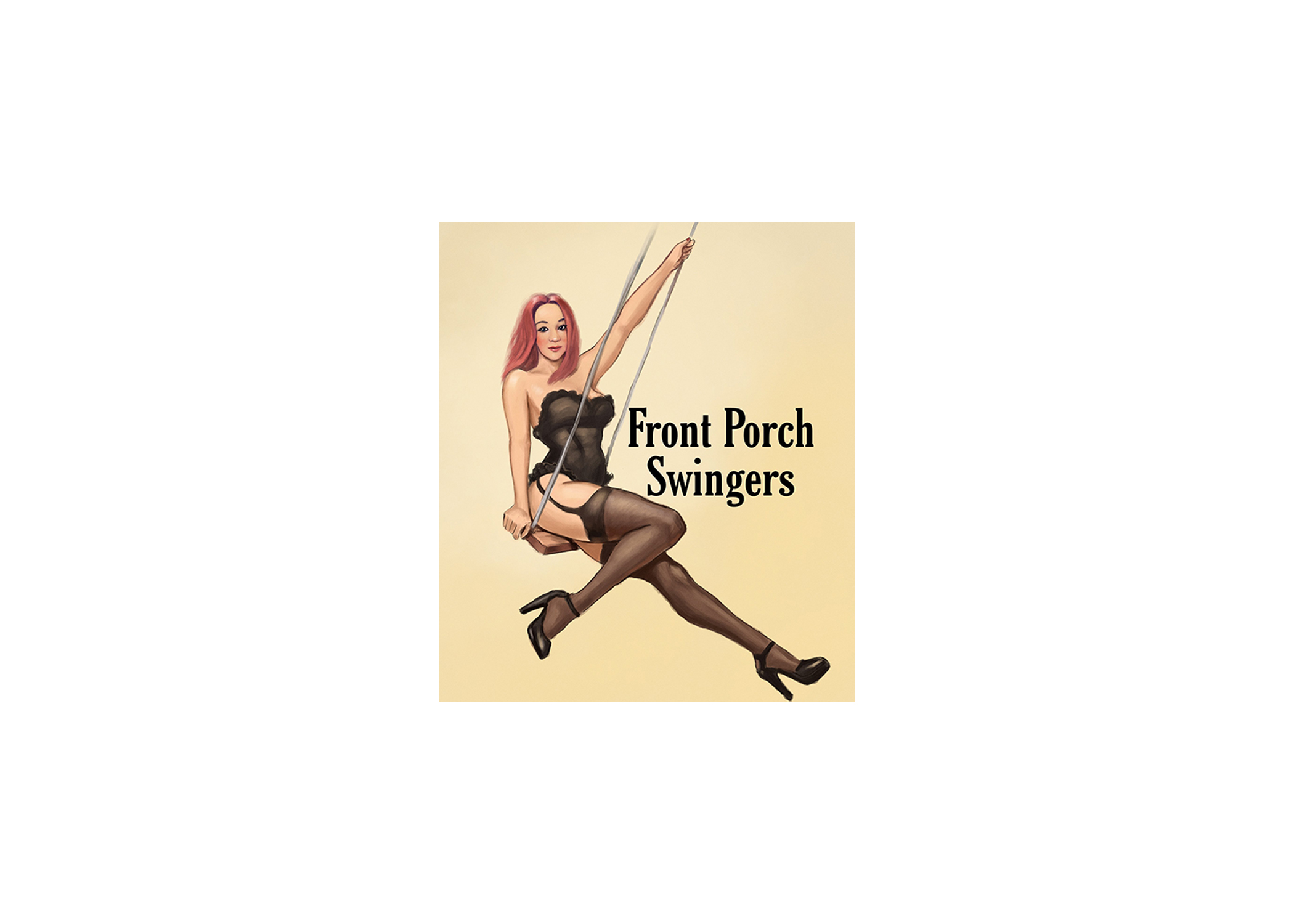 front porch swingers stickers 5x7