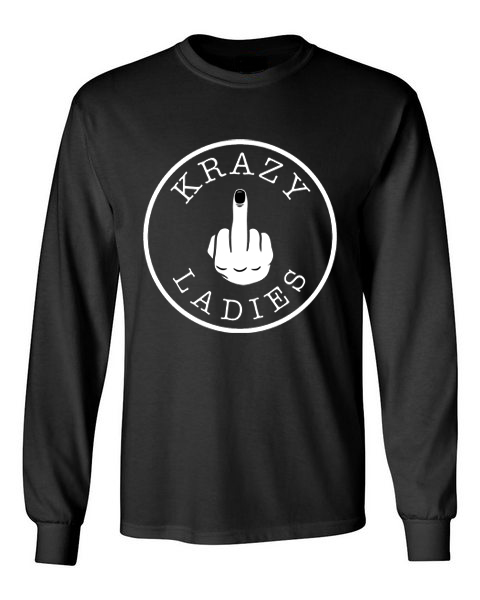 Krazy Ladies black front long sleeve t-shirt