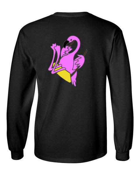 The Swinging Flamingos black back long sleeve t-shirt
