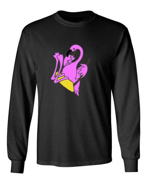 The Swinging Flamingos black front long sleeve t-shirt