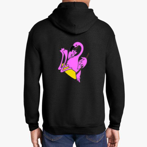 The Swinging Flamingos black hoodie back