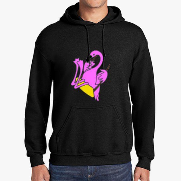The Swinging Flamingos black hoodie front