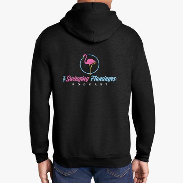 The Swinging Flamingos podcast black hoodie back