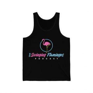 The Swinging Flamingos podcast black unisex jersey tank