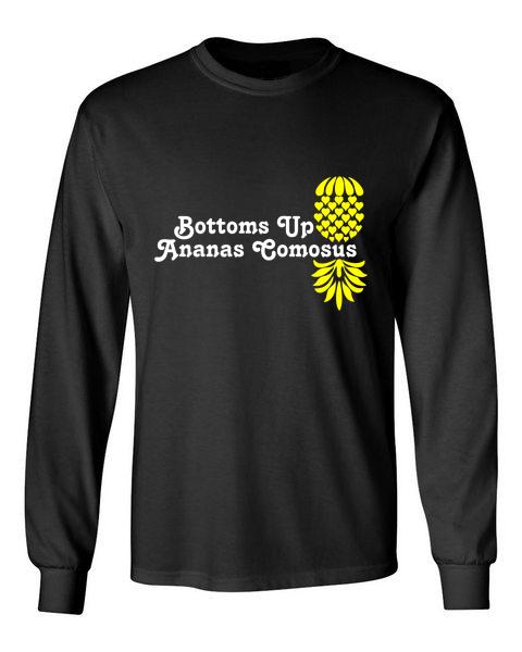 The Upsidedown Pineapple Bottoms Up Black Long Sleeve T-Shirt