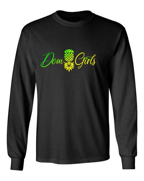 The Upsidedown Pineapple Dem Girls Black Long Sleeve T-Shirt