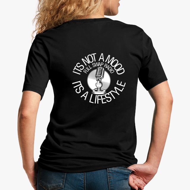 FullSwapRadio black unisex tshirt - lady back