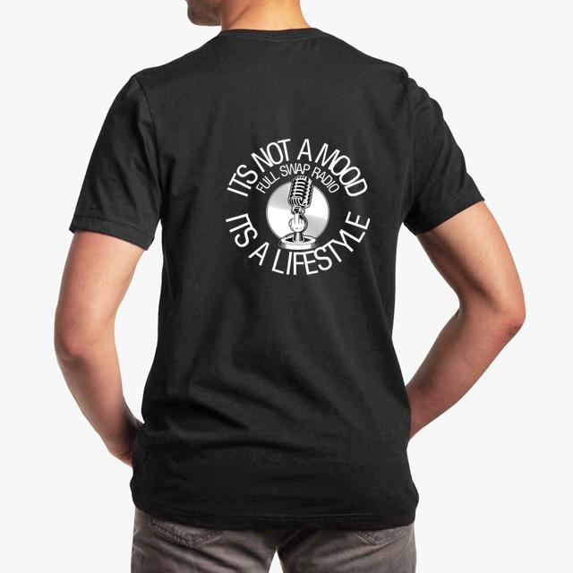 FullSwapRadio black unisex tshirt - man back