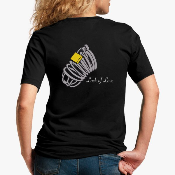 lock of love black unisex tshirt - lady back