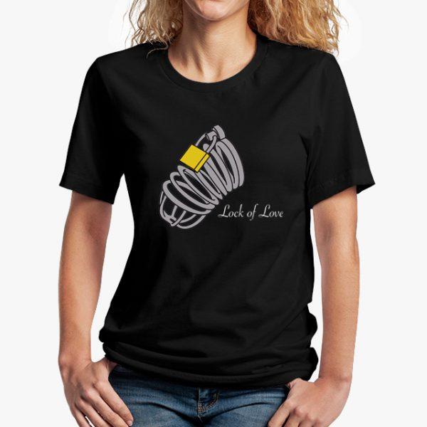 lock of love black unisex tshirt - lady